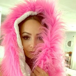 HOT PINK FAUX FUR RAVE HOOD / INFINITY SCARF